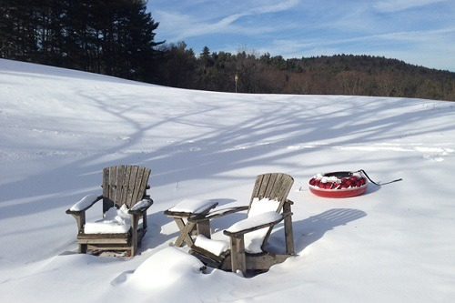 Adirondack Chairs Covered With Snow