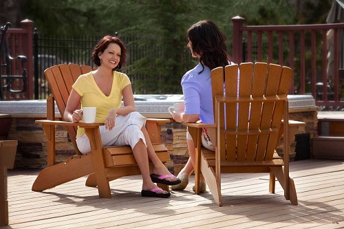Women Drinking Coffee on Lifetime 60064 Adirondack Chair