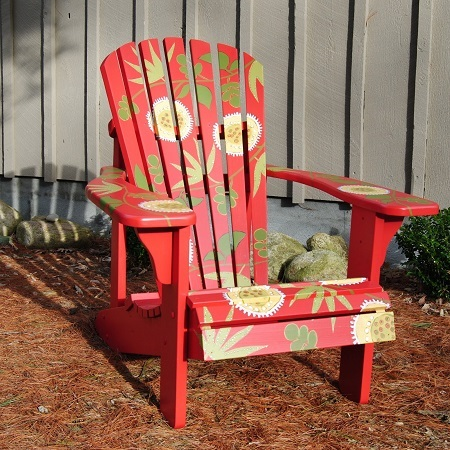 Red Painted Adirondack Chair
