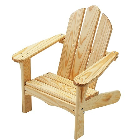 Unfinished Little Colorado Child's Adirondack Chair on White Background