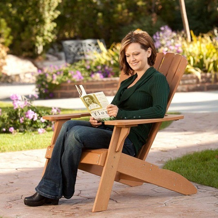 Woman Sitting on Lifetime 60064 Adirondack Chair